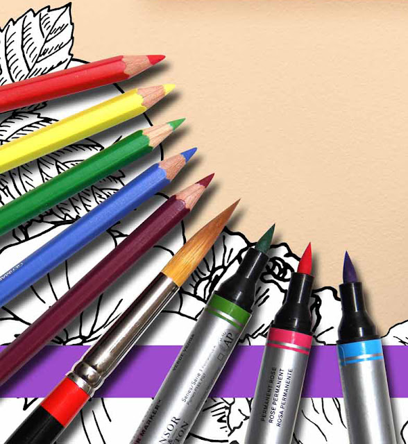Photo of Pencils Brushes Markers on Coloring Book Flowers