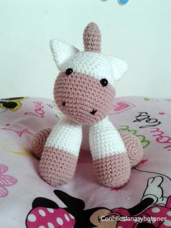 Conhiloslanasybotones - bebé unicornio amigurumi