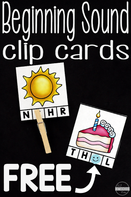 FREE Beginning Sounds Clip Cards are a fun way for prek and kindergarten age children to listen for and identify the beginning sounds in words, great for getting ready to read and start a phonics program. LOW PREP