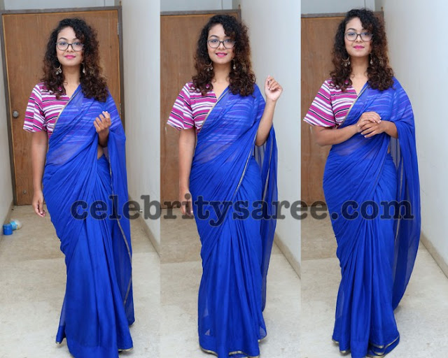 Aditi Mykal Blue Saree