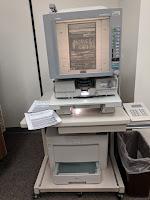 A microfilm display machine
