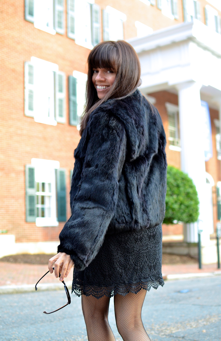 Black Fur Coat Outfit