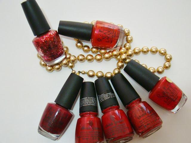 Inspiração de unhas para o Natal - tons de vermelho