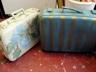 hand painted suitcases
