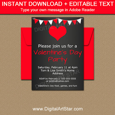 chalkboard Valentines Day invitation instant download