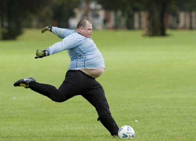 Hilarious Pose Fat Man Football Soccer Picutre