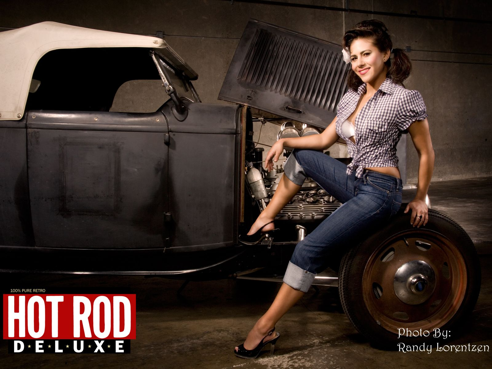 Remarkable, girl and hot rod muscle car wallpaper