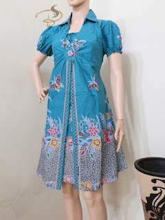 Dress Batik Rama Kupu Biru Muda