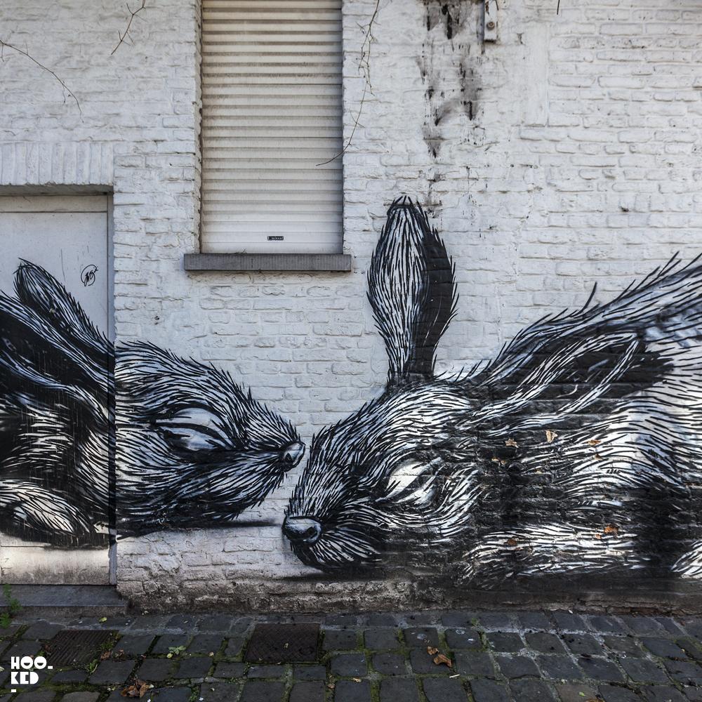 Belgian Street Art Mural in Ghent featuring work from street artist ROA