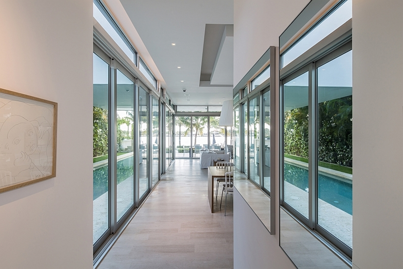 Sliding glass walls in modern home
