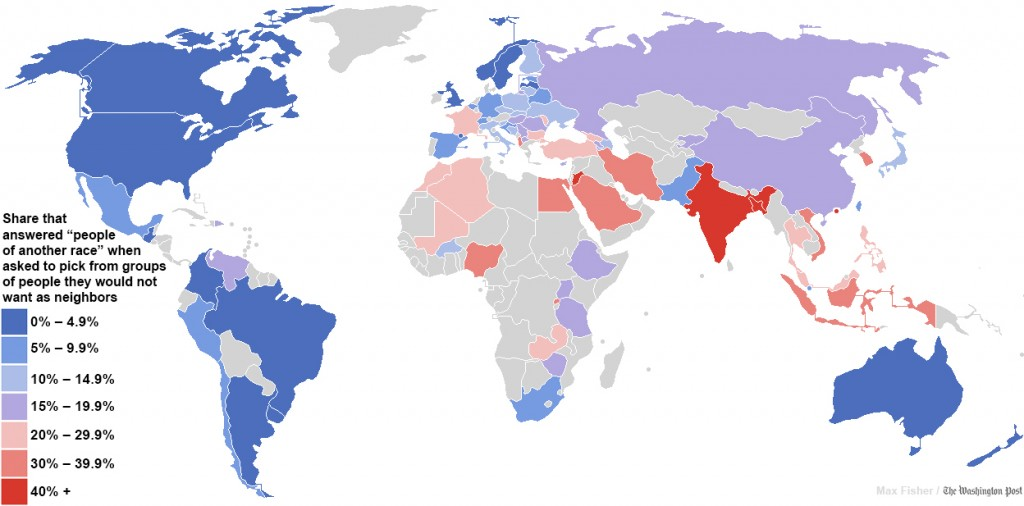 Countries where racist attitudes are most openly held