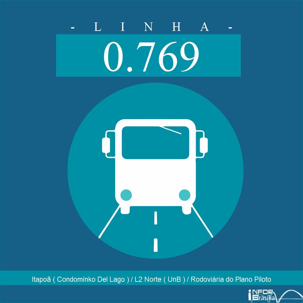 Horário de ônibus e itinerário 0.769 - Itapoã ( Condomínko Del Lago ) / L2 Norte ( UnB ) / Rodoviária do Plano Piloto