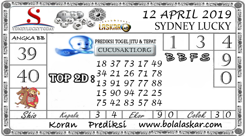 Prediksi Togel SYDNEY LUCKY TODAY LASKAR4D 12 APRIL 2019