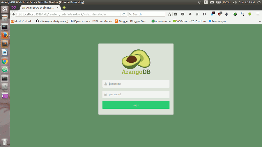 ArangoDB web interface login view