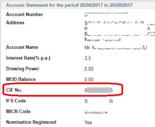 how to know cif number of sbi using account number