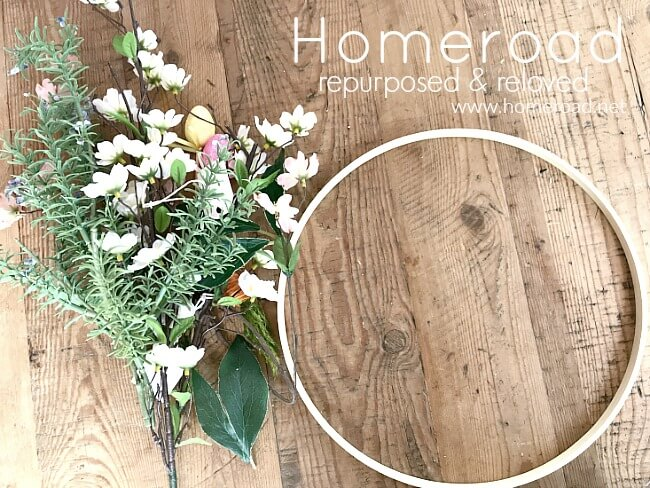 Supplies needed for an Easy Embroidery Hoop Easter Wreath