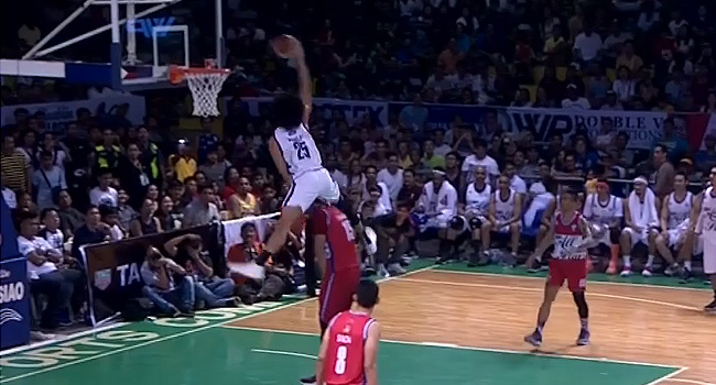 Japeth Aguilar DUNKS OVER June Mar Fajardo (VIDEO) PBA All-Star Game
