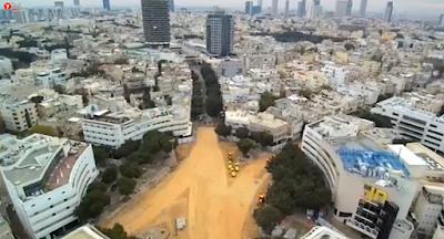 Tel Aviv 'Siempre inspirado, siempre en movimiento y siempre cambiante', con imágenes de la construcción realizada a Dizengoff Square, uno de los paisajes más emblemáticos de la ciudad.