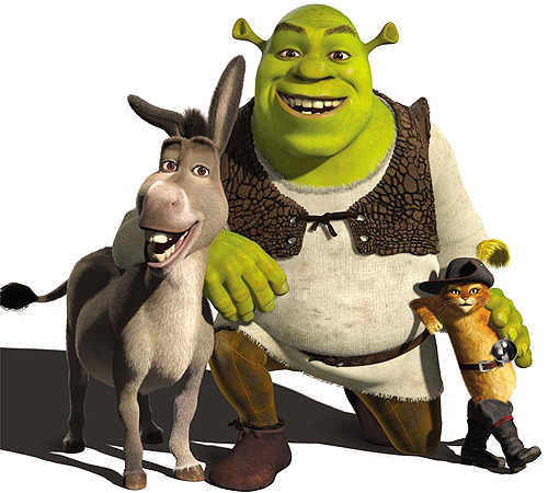 Shrek, the donkey and Puss