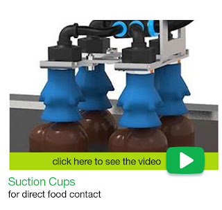 Piab suction cups for direct food contact.