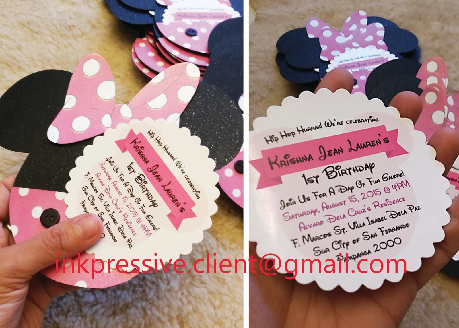 Minnie Mouse Head With Pocket Scallop Circle Invite Card