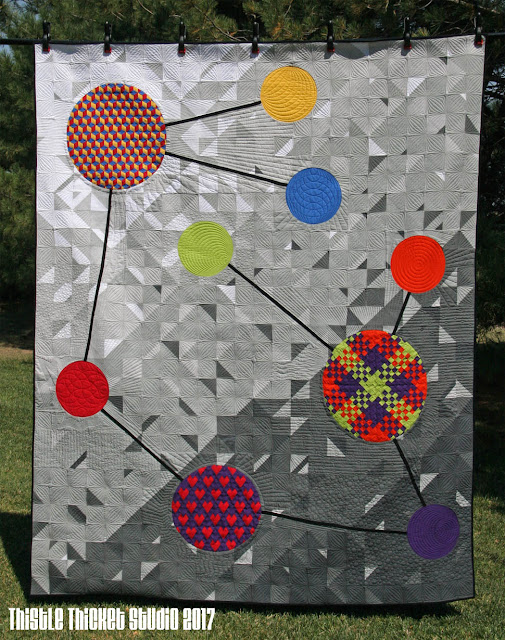 Molecules of Moda: Bella Solids Quilt Designed & Made By Thistle Thicket Studio. www.thistlethicketstudio.com