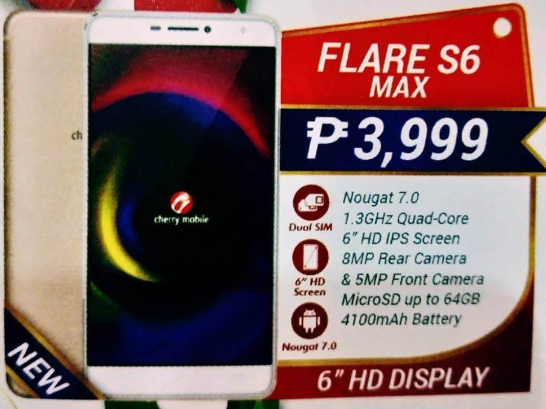 Cherry Mobile Flare S6 Max Leaks; 6-inch HD Android Nougat w/ 4100mAh Battery for Php3,999