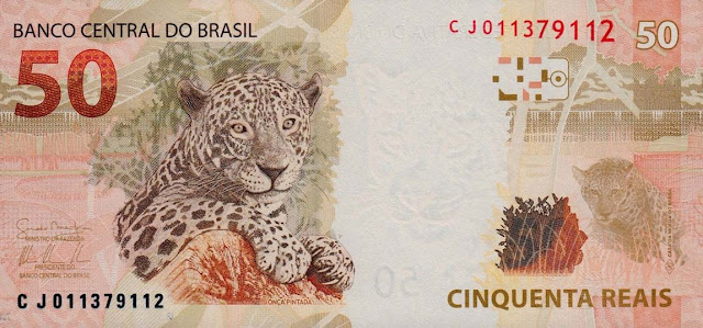 Brazilian Currency 50 Reals banknote 2010 Jaguar - Panthera