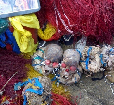 SHOCKER: 23 Human Skulls, Full Skelleton DISCOVERED In Cross River Militants Shrine; See Photos