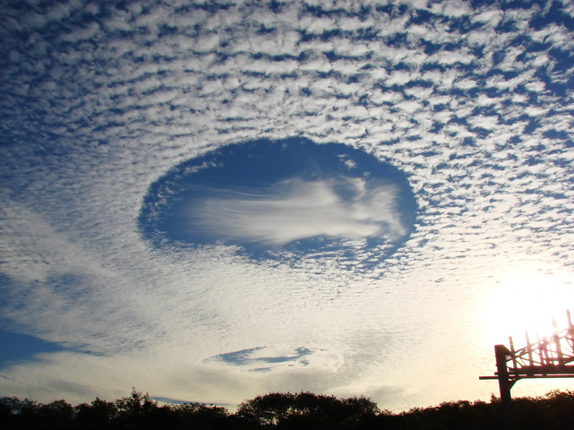 Very Unusual cloud formation, hole sky