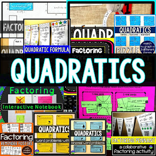 Quadratics Activity Bundle to differentiate quadratics for all students