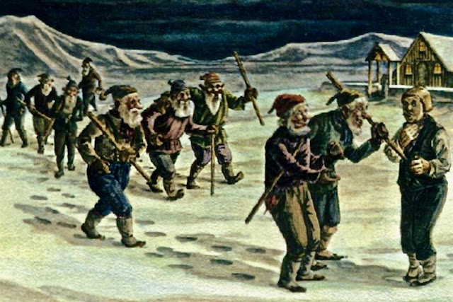 Vintage Greeting card of Icelandic jólasveinar (yule-lads). Yule Lads and other stories of Christmas Creepers. marchmatron.com