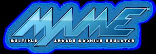 Logo de Multiple Arcade Machine Emulador con las letras MAME en azul sobre fondo blanco