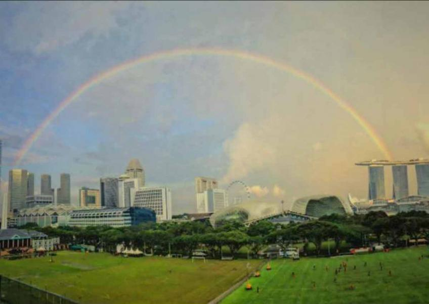 Rare double rainbow spotted again in Singapore