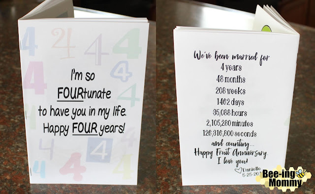 fortunate to have you in my life, FOURtunate to have you in my life, 4 year in days, fruit saying anniversary book, fruit book, fruit sayings, free printable, printable book, printable gift, 4 year wedding anniversary gift, fruit anniversary, fruit gift, fruit gift ideas, unique fruit gift, food sayings, four year anniversary, four year anniversary gift, 4 year gift, unique 4 year gift, lime so glad your mine, coconuts about you, one in a melon, lime so glad you're mine, sweeter with you, mango can't live without you, you're a fine-apple, apple of my eye, bananas about you, love you berry much, couldn't of picked a better guy, fruit, anniversary book, DIY, scrapbook, anniversary scrapbook, wedding scrapbook
