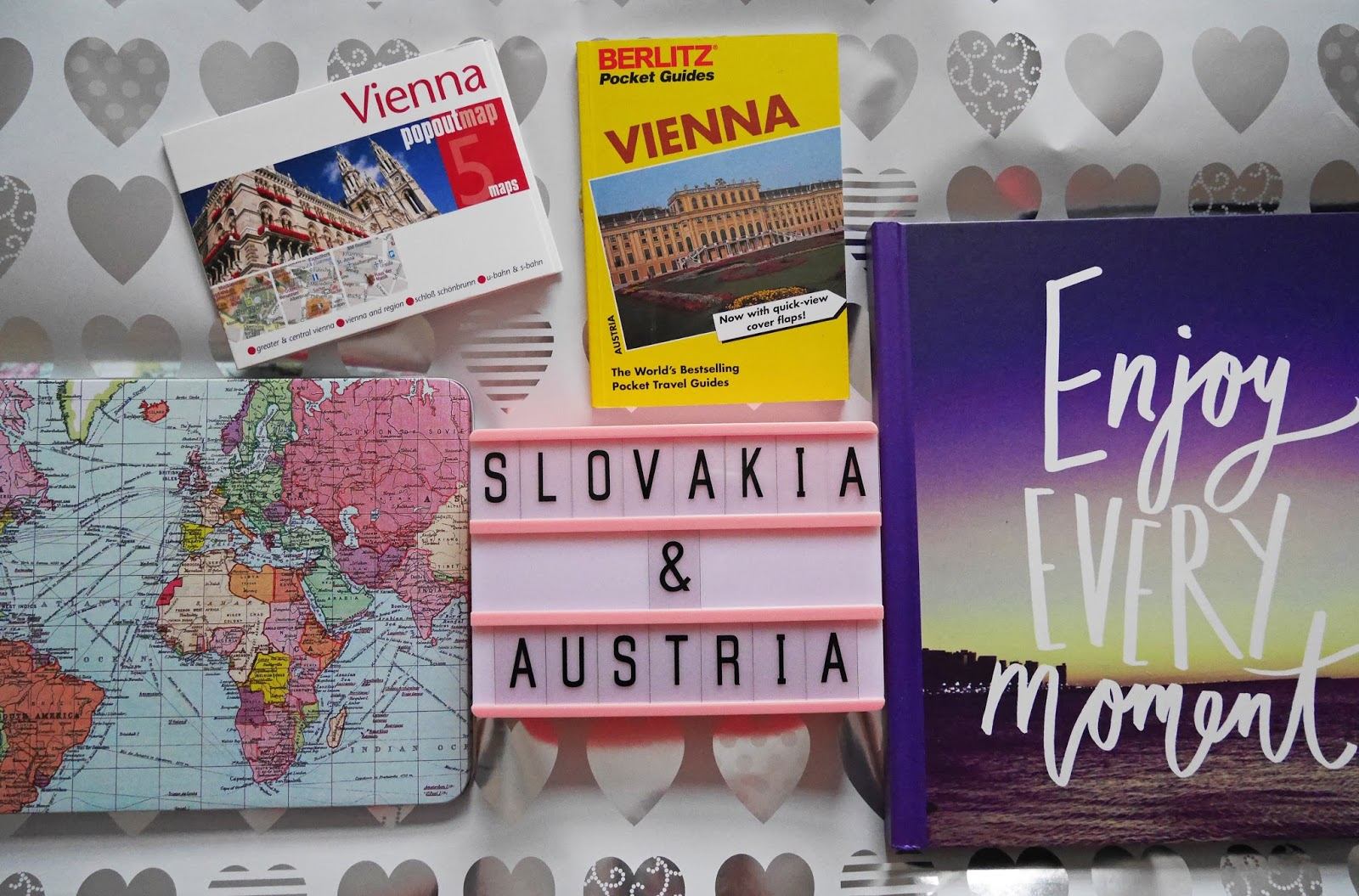 Slovakia and Austria travel collectibles. Visit multiple countries in one day - travel goals for 2018.