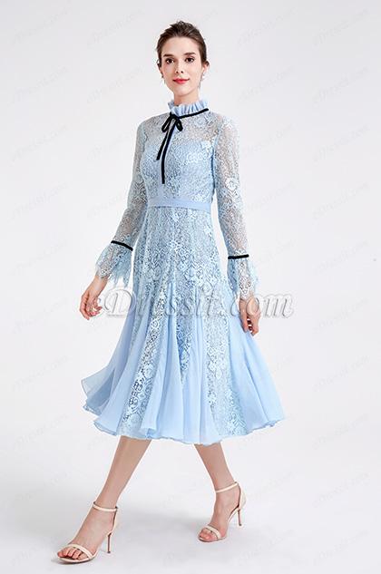 light blue high neck lace princess party dress