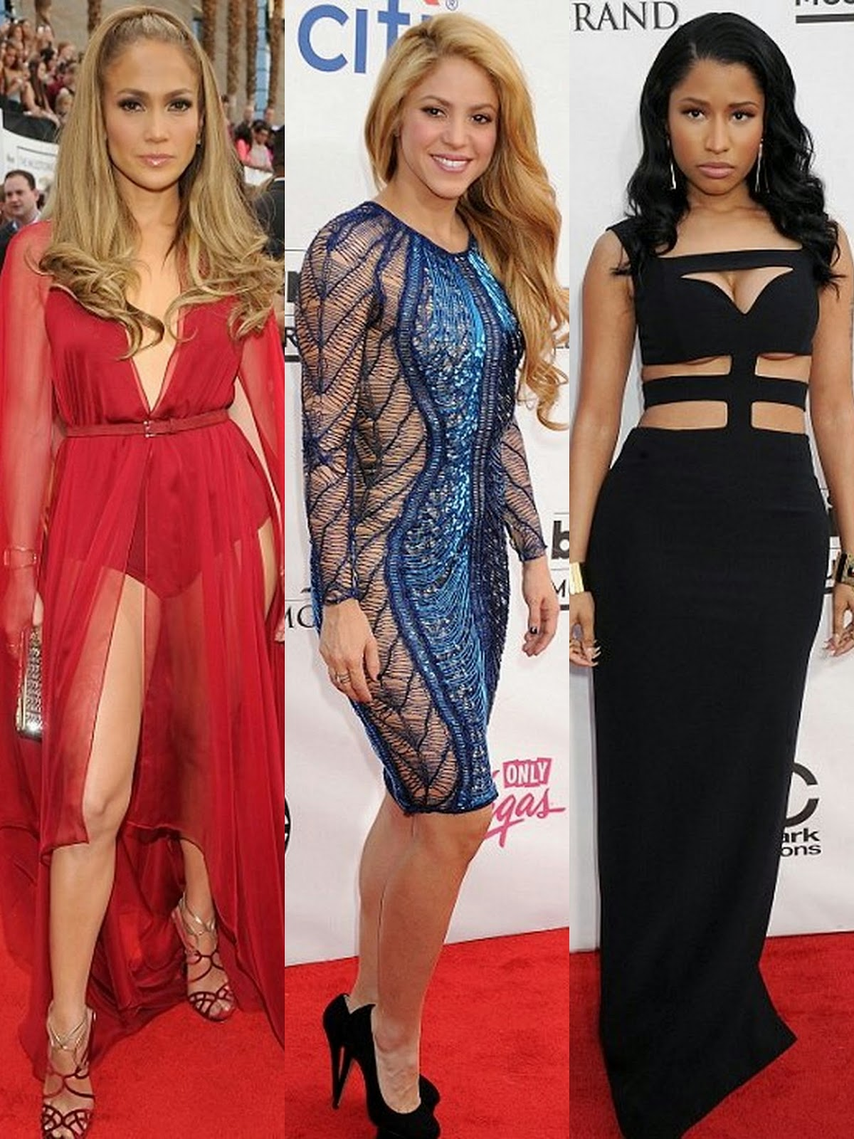 hot celebrities: Jennifer Lopez, Shakira and Nicki Minaj at the Billboard Music Awards