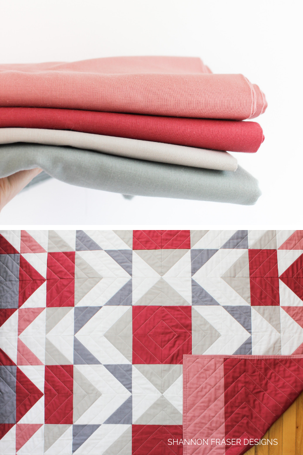Fabrics in the Mod-Rose Modern Aztec Quilt | Shannon Fraser Designs