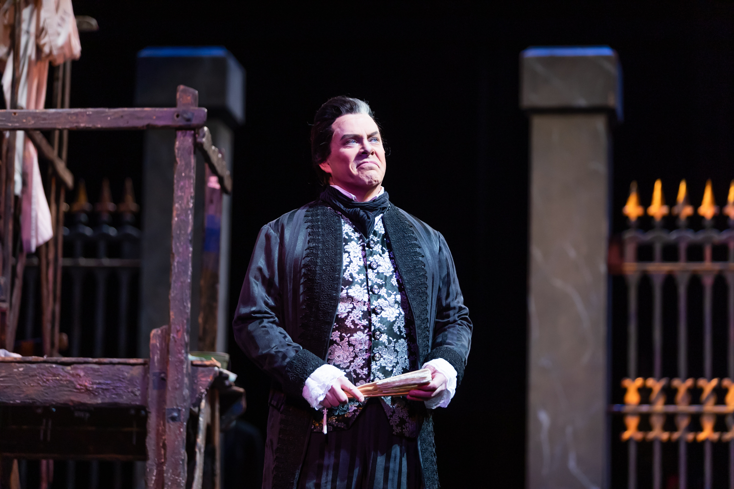 IN REVIEW: baritone MALCOLM MACKENZIE as Scarpia in North Carolina Opera's April 2019 production of Giacomo Puccini's TOSCA [Photograph by Eric Waters, © by North Carolina Opera]