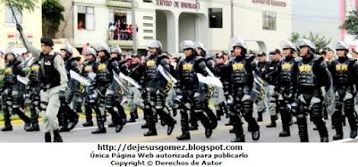 Foto del Batallón de los GOES en el desfile del 28 de Juilo en Perú. Foto de los GOES (INPE) de Jesus Gómez