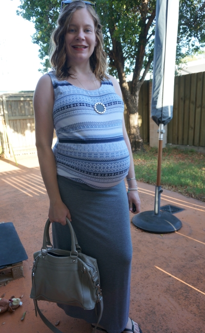 AwayFromBlue | Printed tank grey marle maxi skirt Third Trimester pregnancy outfit