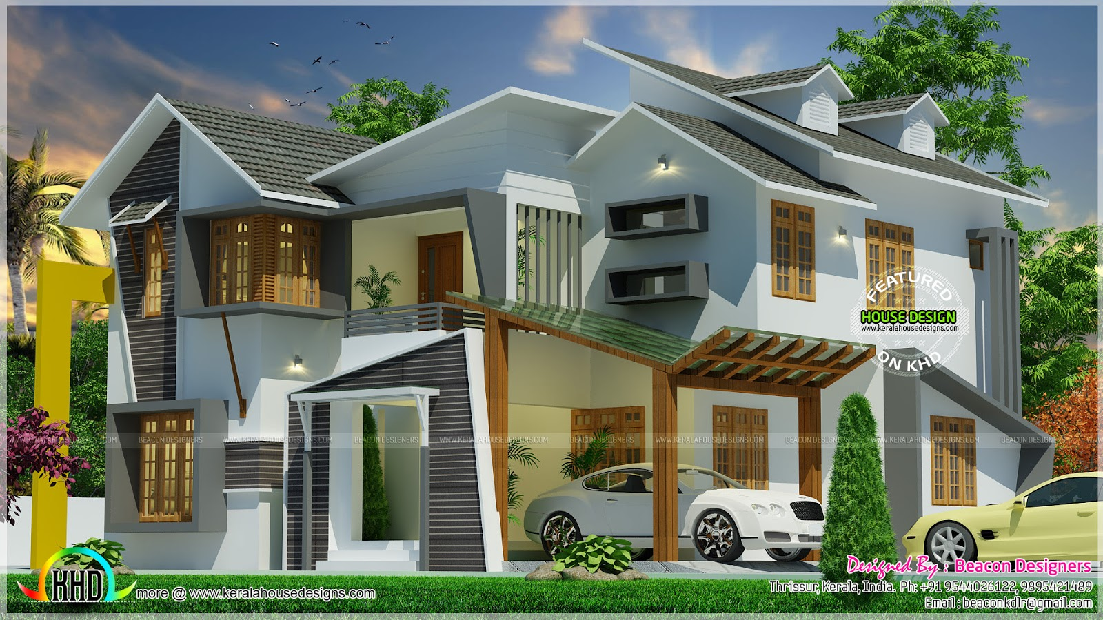 Ultra modern home with dormer windows kerala home design for Ultra modern house plans