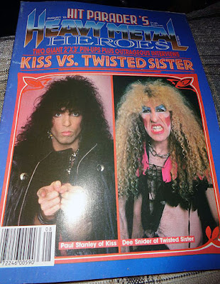 Twisted Sister vs Kiss on the cover of Hit Parader's Heavy Metal Hero's issue August 1985