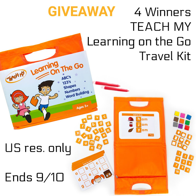 summer fun giveaway, unplug and play, travel kits for children, learning on the go kit, teach my learning on the go, travel must have for kids