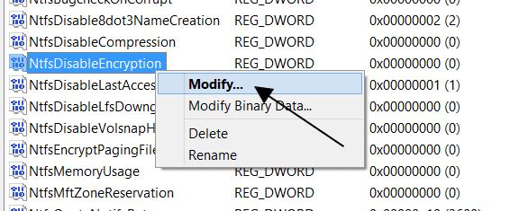 NtfsDisableEncryption Modification