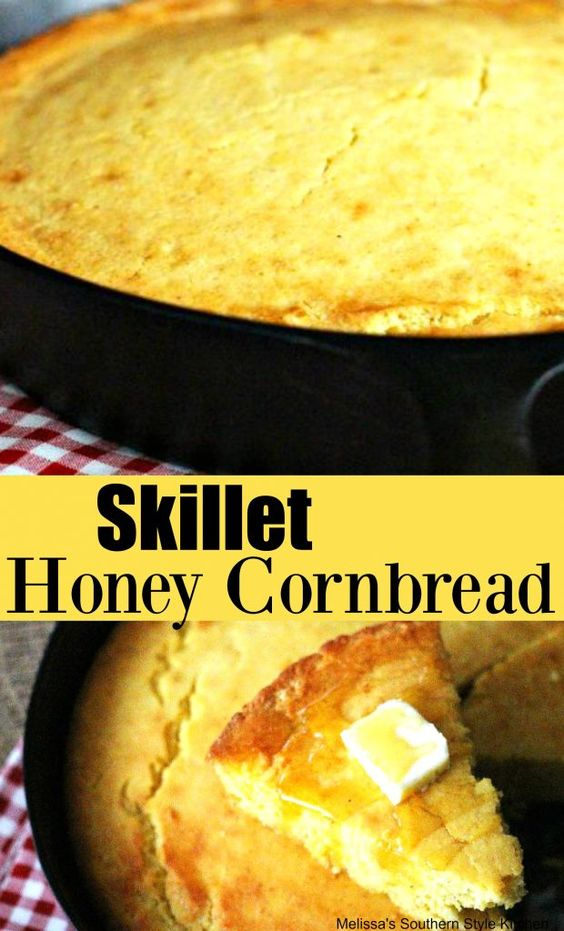 Skillet Honey Cornbread #cornbread #castironcooking #baking #recipes #Southerncornbread #honeycornbread #bread