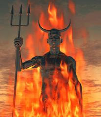a demon with a mighty spear in hell