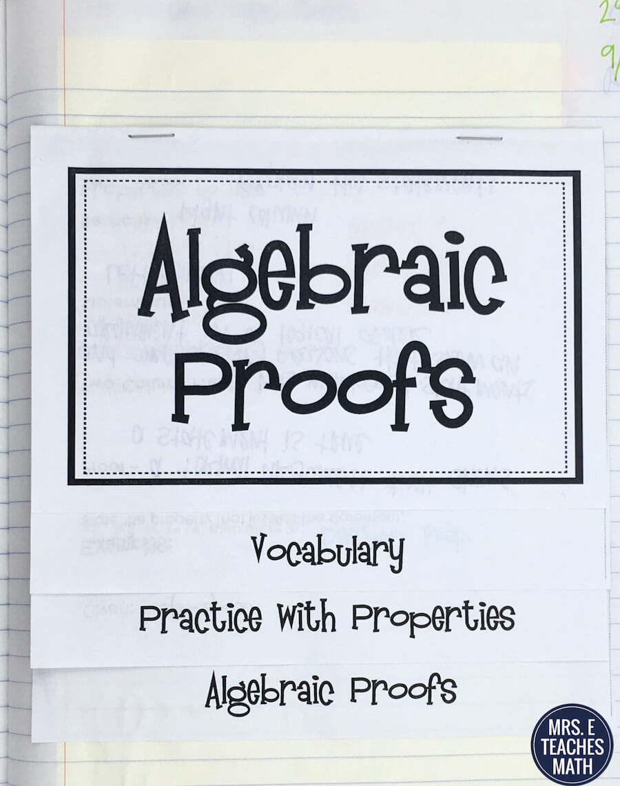 Intro Geometry Proofs INB Pages  Mrs. E Teaches Math Intended For Geometry Worksheet Beginning Proofs
