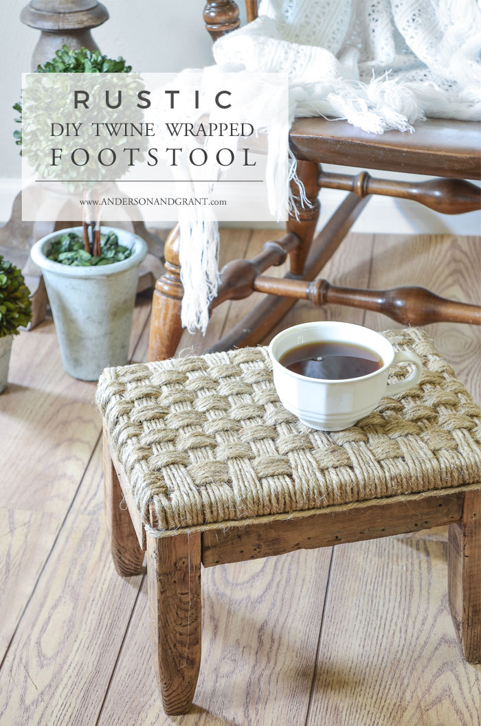 Rustic DIY Twine Wrapped Footstool